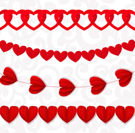 twiddle: Red seamless paper garlands from hearts Valentine on white seamless pattern background Illustration