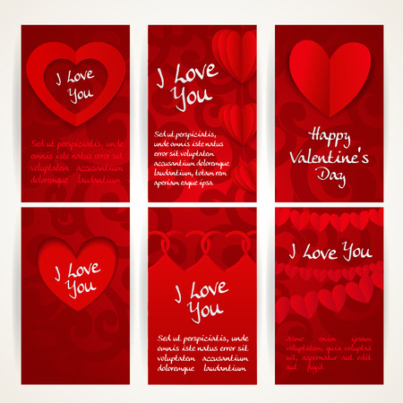 vertica: Vertica red banners with garlands of paper hearts for Valentines Day