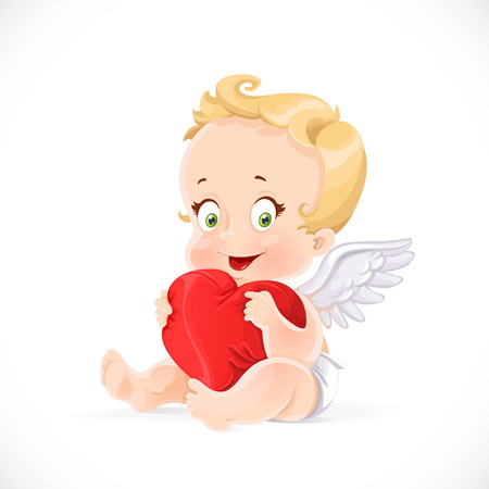 Cute cupid sitting and hugging a soft red pillow heart isolated on a white background Illustration