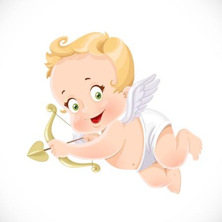 Carino Cupido puntando una freccia isolato su uno sfondo bianco Archivio Fotografico - 35716001
