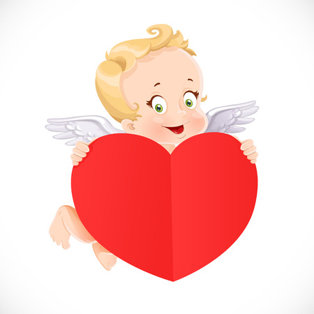 Cute Cupid flies with a big valentine heart shaped red paper Illustration
