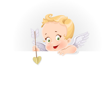 Cute cupid with a big horizontal banner isolated on a white background