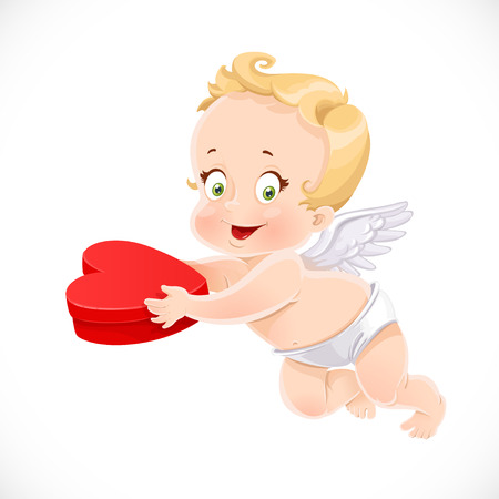 Cute cupid holding a box with a gift in the form of heart Illustration