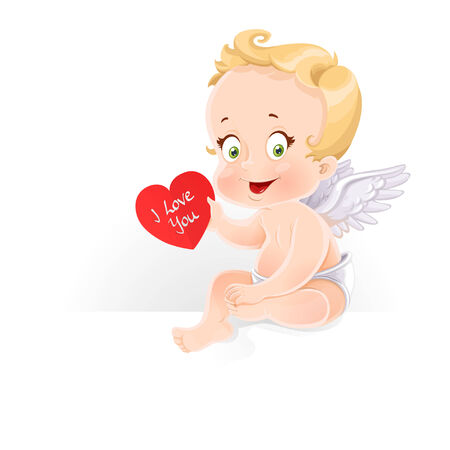 Cute Cupid sitting on horizontal banner and gives a valentine isolated on a white background