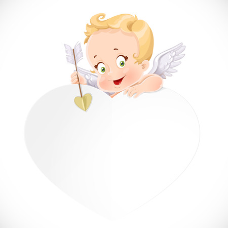 Cute cupid with a big white valentine card  isolated on a white background Illustration