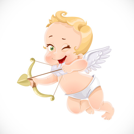 Cute little cupid shoots a bow isolated on a white background Illustration