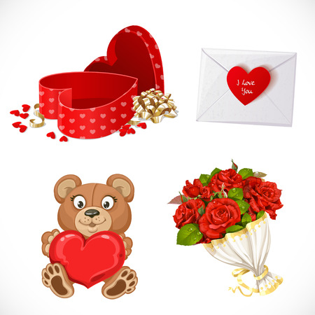 white clip: Icons set Gifts Valentines Day isolated on white background Illustration
