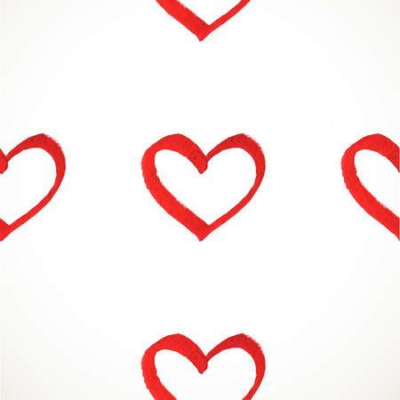 the explanation: Seamless vector pattern of hand drawn watercolor paint red hearts 1