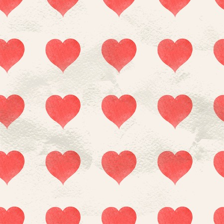 red hand: Seamless vintage pattern of red hand drawn watercolor paint hearts vector draw