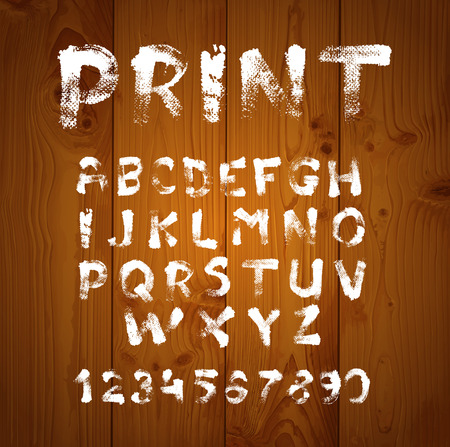 loose: Texture font written with paint and brushes on  realistic texture of brown wood Illustration