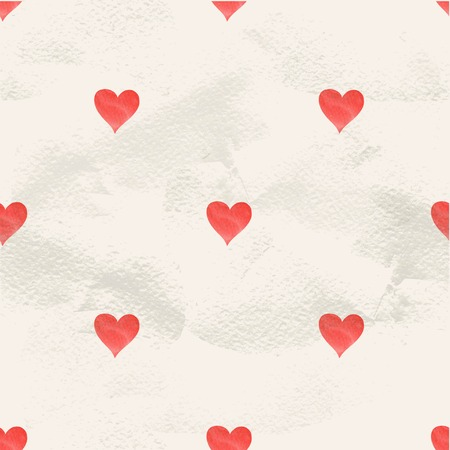 Vintage geometric seamless vector pattern of small hand drawn watercolor hearts Vector