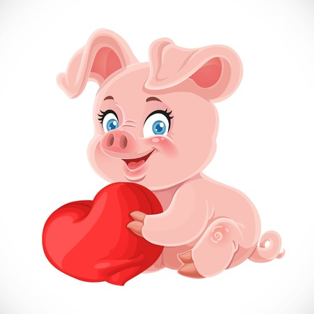 Cute cartoon happy baby pig hugging a soft red pillow heart isolated on a white background