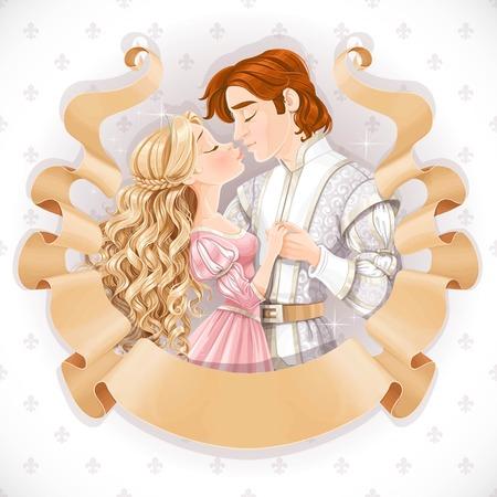 すばらしい王子と王女のキスのロマンチックなシーンで羊皮紙フレームのリボン スクロールします古い日付カードを保存します。