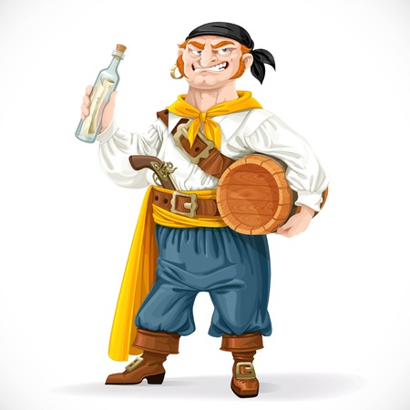 filibuster: Cute pirate with a barrel of rum and a bottle with a letter isolated on a white background