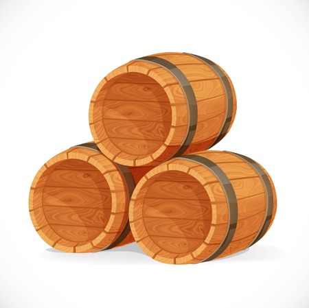 Wooden barrels isolated on white background