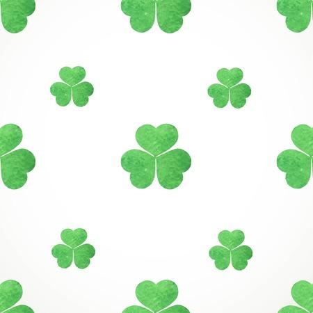 shamrocks: Seamless pattern of  watercolor shamrocks clover on St. Patricks Day Illustration