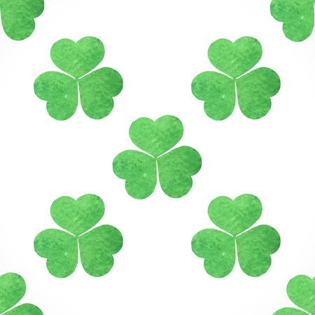shamrock clovers: Seamless pattern of green shamrocks clover on St. Patricks Day Illustration