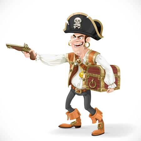 daring: Cute pirate take aim a pistol and cuddle chest isolated on white background