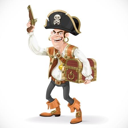 brandweer cartoon: Leuke piraat met een pistool ingedrukt om zichzelf een grote schatkist geïsoleerd op een witte achtergrond