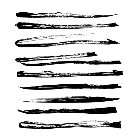 Big set of long strokes texture in black ink on white paper