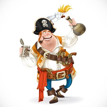 pirata: Pirata borracho con una botella de ron y un loro que se sienta en un sombrero aislado sobre fondo blanco