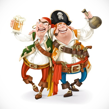 Two drunk pirates are drinking holding each other isolated on white background Çizim