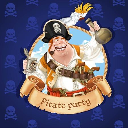 オウムの帽子の上に座って酔った海賊船。海賊党のバナー  イラスト・ベクター素材