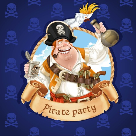 cartoon carnival: Drunken pirate with parrot sitting on a hat. Banner for Pirate party