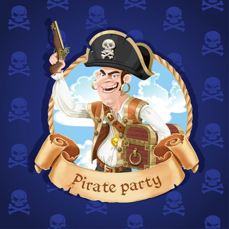 daring: Cute pirate with a gun and big treasure chest. Banner for Pirate party
