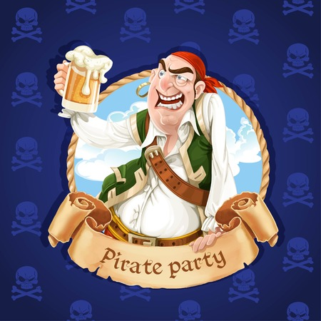 drunk party: Drunken pirate with a beer. Banner for Pirate party