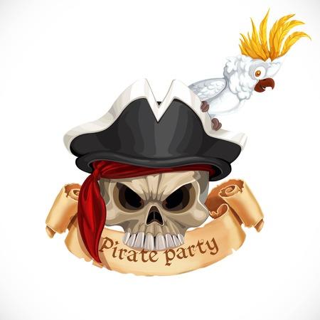 Embleem voor piratenfeest met een schedel met een hoed en een papegaaikaketoe