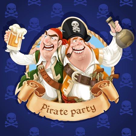 pirata: Dos piratas borrachos con ron y cerveza.