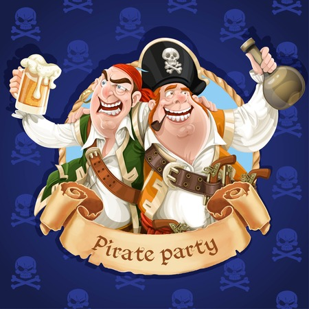 cartoon party: Two drunken pirates with rum and beer.