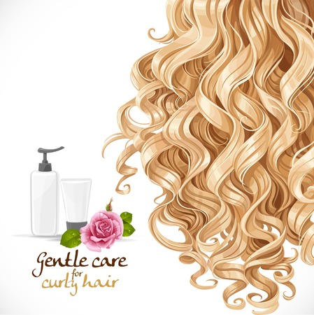 long curly hair: Gentle care for curly hair. Hair background Illustration