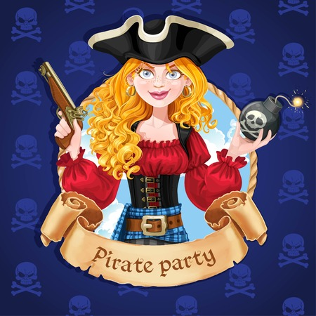 pirate banner: Beautiful female pirate with bomb. Banner for Pirate party