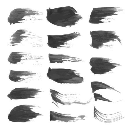 wet paint: Black abstract wet paint strokes set on white Illustration