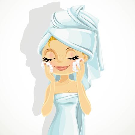 salud sexual: Linda chica lava lavado facial aislado en un fondo blanco