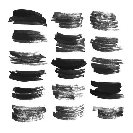brush in: Big set brush strokes drawn in ink on white paper 3 Illustration