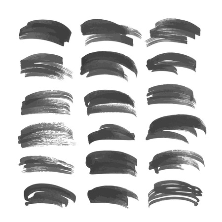 Brush strokes drawn in ink on white paper big set Vector