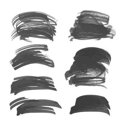 flat brush: Brushstrokes painted flat brush ink on white paper