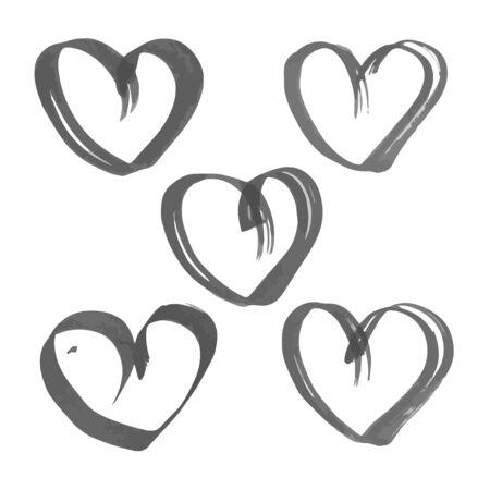flat brush: Heart drawn flat brush ink on the white paper Illustration
