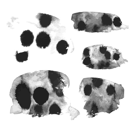 streaks: Watercolor streaks of black paint on a white background 1
