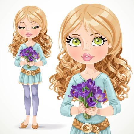クロッカスの白い背景で隔離の花束を持って美しいブロンドの女の子