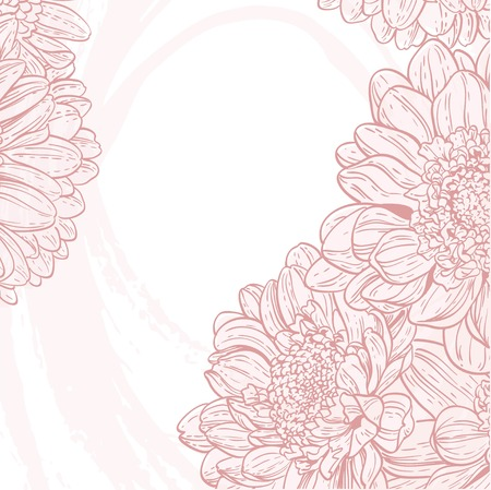 Line drawings pink chrysanthemum on white grunge background