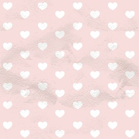 Pink seamless vintage pattern of hearts on grange paper Vector