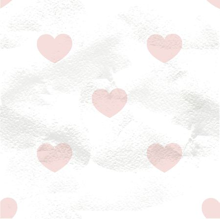 White seamless vintage pattern of pink hearts on grange paper Vector