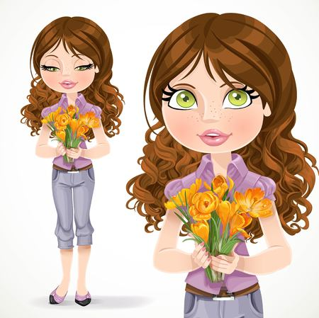 tunic: Beautiful brunette girl holding a bouquet of yellow crocuses isolated on white background