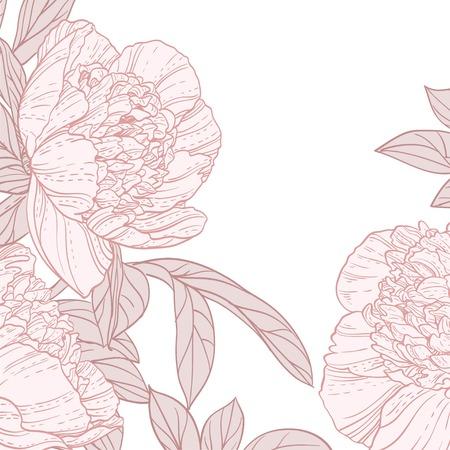 Beautiful peonies line art background