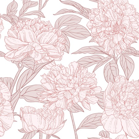 Seamless pattern of pink peonies line art