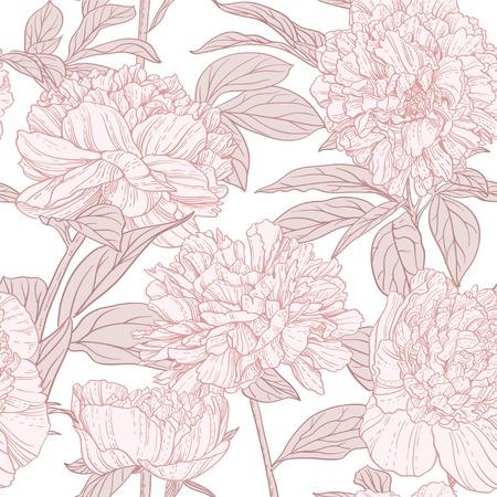 Seamless pattern of pink peonies line art